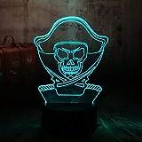 DHYWGS Mesita de Noche Luz de Noche de ilusin 3D Piratas del Caribe Nio Nio Escritorio de...