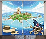 ABAKUHAUS Mapa de la Isla Cortinas, Cráneo del Pirata de la Isla, Sala de Estar...