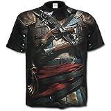Spiral - Assassins Creed IV Black Flag - Allover Licensed Black (T-Shirt Unisex