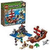 LEGO Minecraft - La Aventura del Barco Pirata, juguete de construcción y aventuras en el...