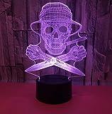 3D Óptico Illusions Led Lámparas Pirata Led Lámpara De Mesa Luces De Noche Para Niños...